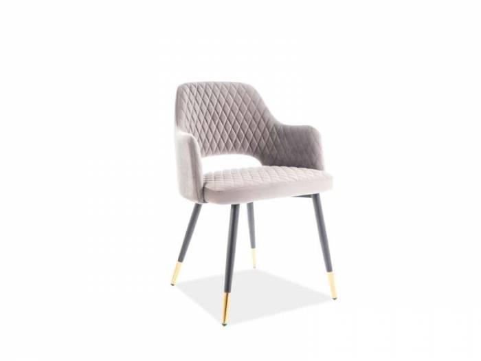 Scaun Franco, 82x55x45 cm, stofă/metal, gri/negru
