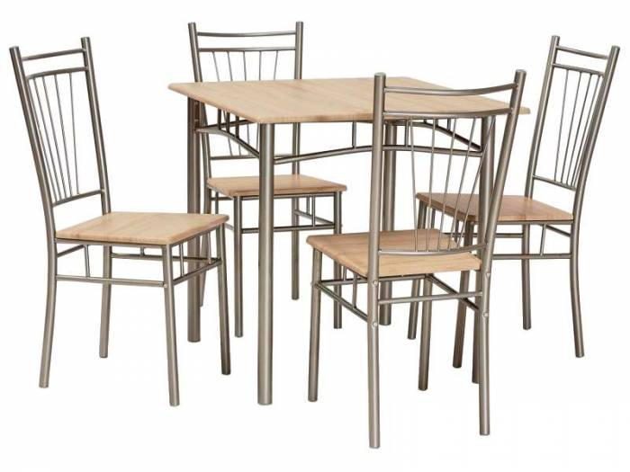 Set masă si scaune Fit, 40/90/40 cm, MDF/metal, maro/aluminiu