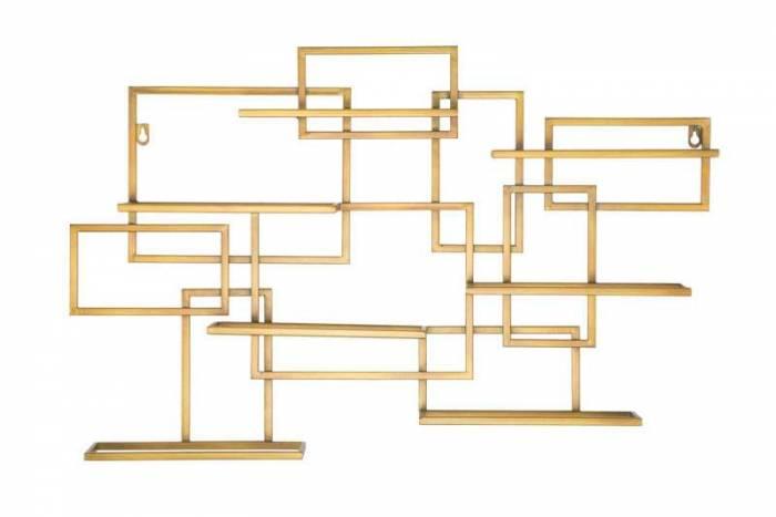 Etajeră cu suport de sticle Glam, 50x80x10 cm, metal, auriu