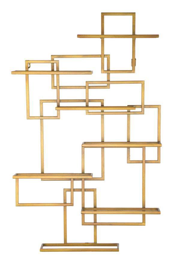 Etajeră cu suport de sticle Glam, 79,5x50x10 cm, metal, auriu