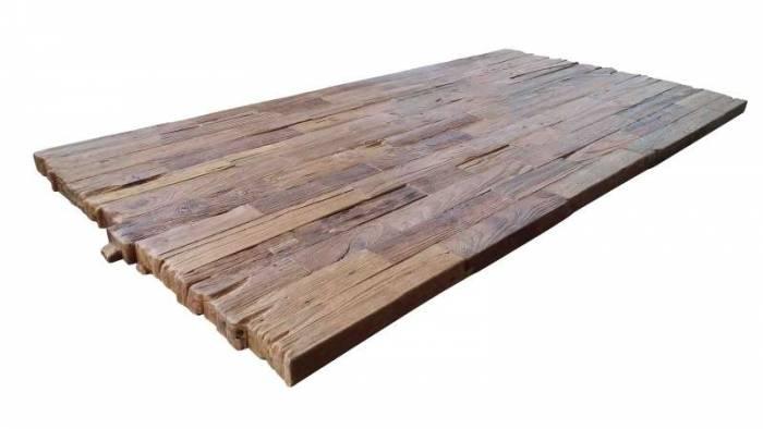 Masă de dining Freya Teak, 73x90x160 cm, lemn reciclat/ metal, maro