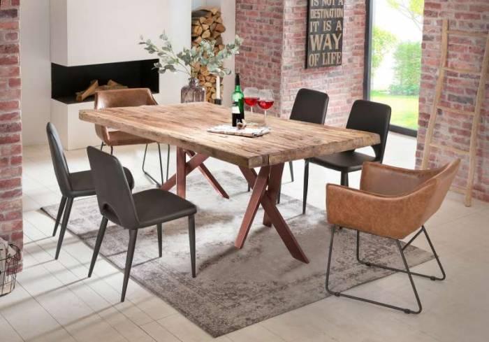Masă de dining Freya Teak, 74x100x220 cm, lemn reciclat/ metal, maro