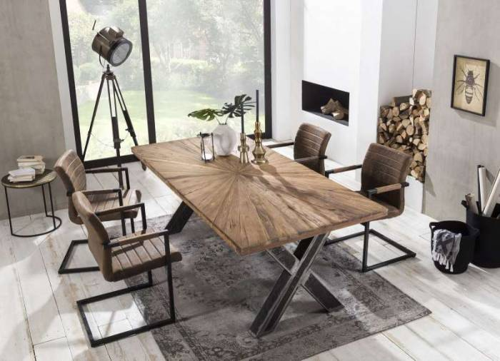 Masă de dining Freya Teak, 76x90x160 cm, lemn reciclat/ metal, maro/ negru
