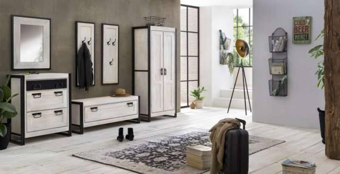 Oglindă Panama, 70x3x80 cm, mango/metal, alb/negru