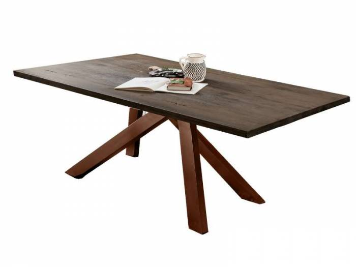 Masă de dining Freya Carbon Oak, 75x100x200 cm, lemn/ metal, gri/ maro - OLD