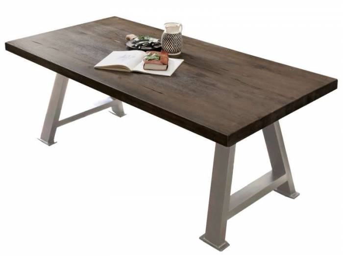 Masă de dining Freya Carbon Oak, 76x100x240 cm, lemn/ metal, gri/ argintiu - OLD