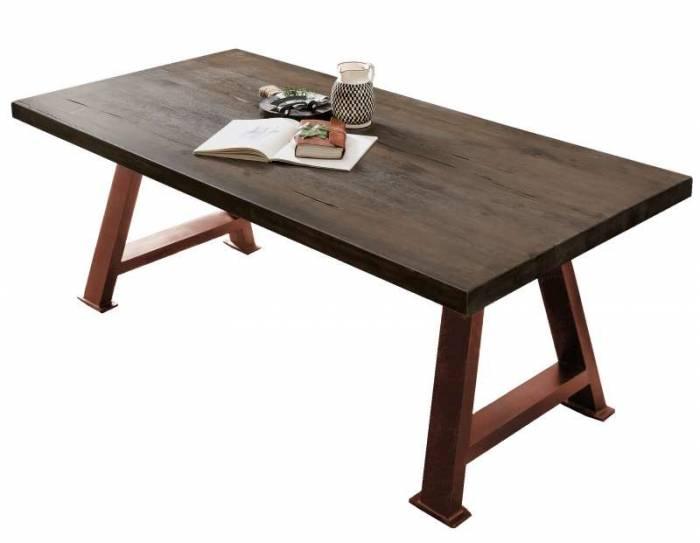 Masă de dining Freya Carbon Oak, 76x100x240 cm, lemn/ metal, gri/ maro - OLD