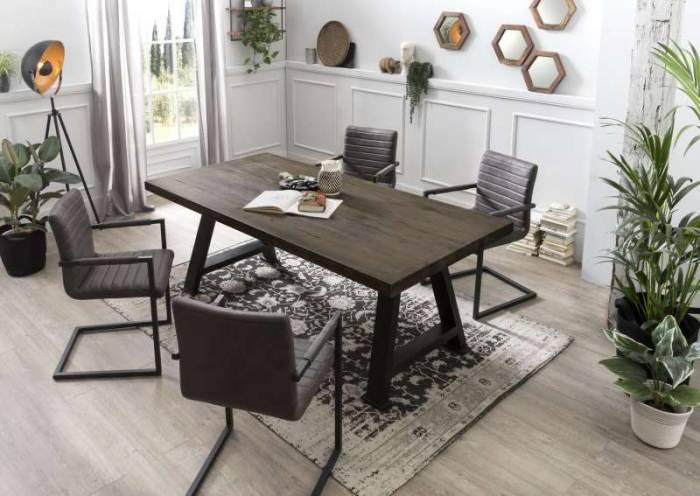 Masă de dining Freya Carbon Oak, 76x100x240 cm, lemn/ metal, gri/ negru - OLD