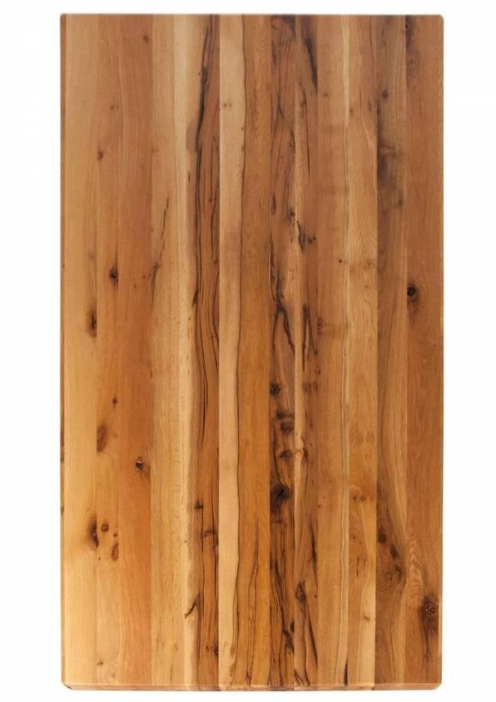 Masă de dining Freya Oiled Oak, 75x100x180 cm, lemn/ metal, maro/ argintiu - OLD