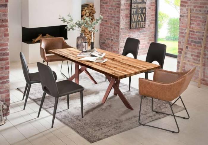 Masă de dining Freya Oiled Oak, 75x100x180 cm, lemn/ metal, maro - OLD