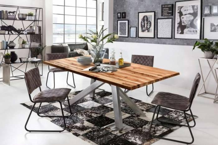 Masă de dining Freya Oiled Oak, 75x100x200 cm, lemn/ metal, maro/ argintiu - OLD