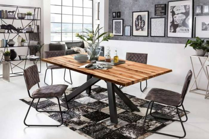 Masă de dining Freya Oiled Oak, 75x100x200 cm, lemn/ metal, maro/ negru - OLD