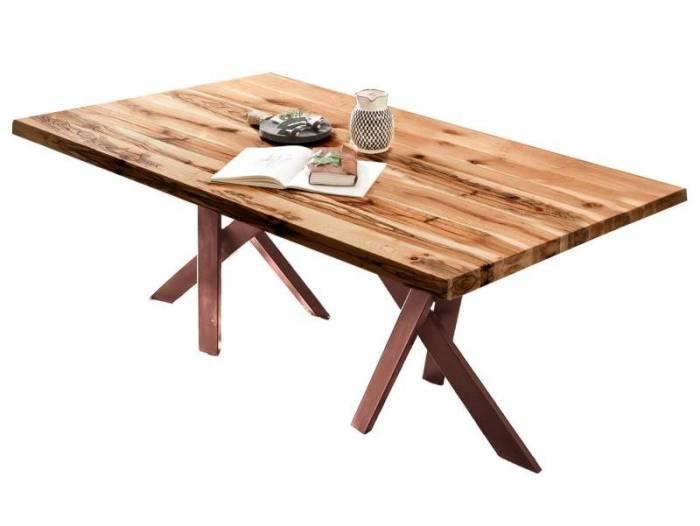Masă de dining Freya Oiled Oak, 75x100x220 cm, lemn/ metal, maro - OLD