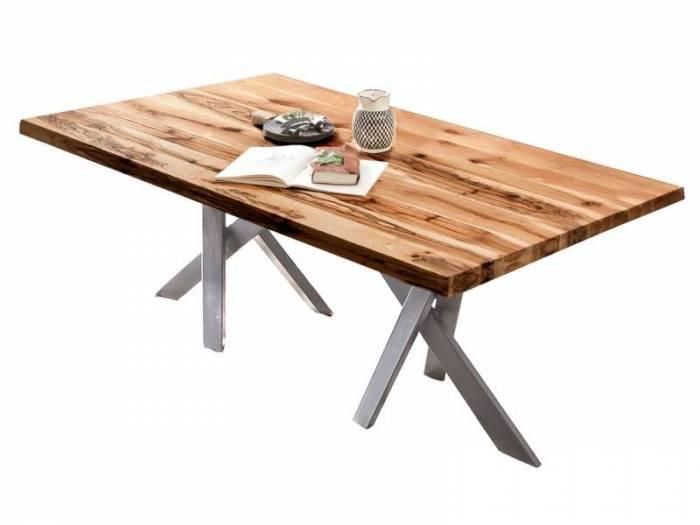 Masă de dining Freya Oiled Oak, 75x100x240 cm, lemn/ metal, maro/ argintiu - OLD