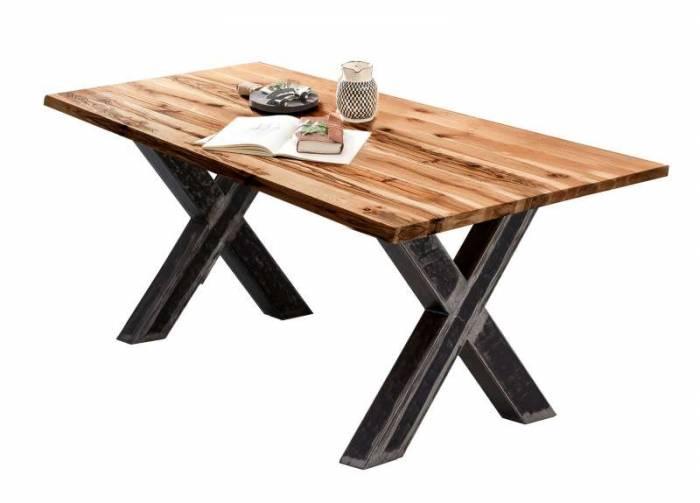 Masă de dining Freya Oiled Oak, 76x100x180 cm, lemn/ metal, maro/ negru - OLD