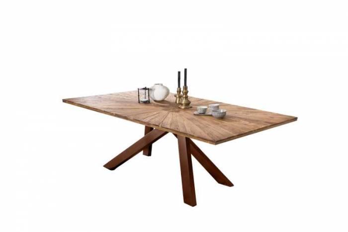 Masă de dining Freya Teak, 77x100x220 cm, lemn reciclat/ metal, maro