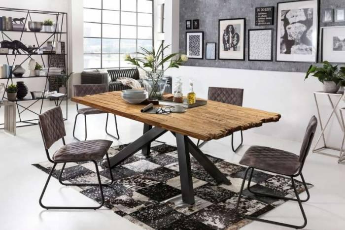 Masă de dining Freya Teak, 77x90x160 cm, lemn reciclat/ metal, maro/ negru