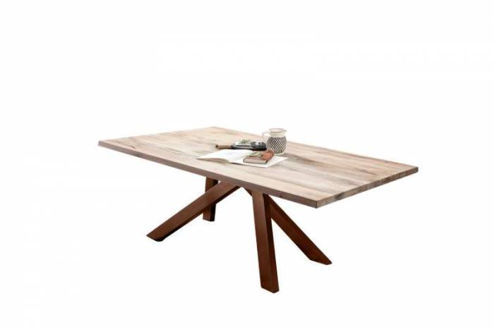 Masă de dining Freya White Oak, 75x100x180 cm, lemn/ metal, maro/ alb - OLD