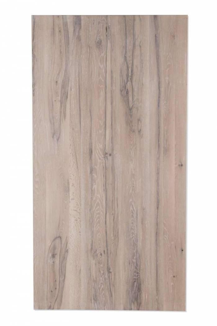 Masă de dining Freya White Oak, 75x100x200 cm, lemn/ metal, alb/ argintiu - OLD