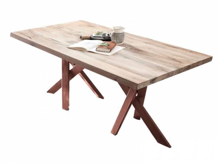 Masă de dining Freya White Oak, 75x100x200 cm, lemn/ metal, maro/ alb - OLD