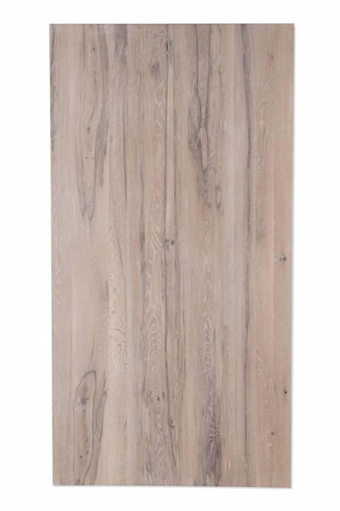 Masă de dining Freya White Oak, 75x100x220 cm, lemn/ metal, maro/ alb - OLD