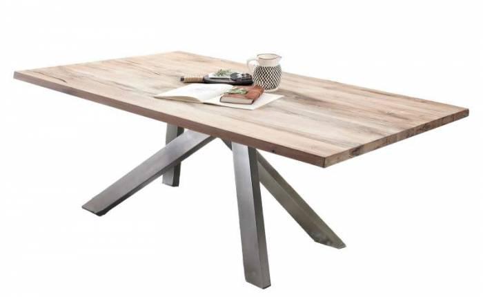 Masă de dining Freya White Oak, 75x100x240 cm, lemn/ metal, alb/ argintiu - OLD