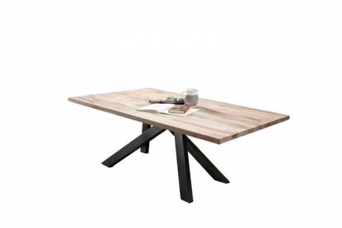 Masă de dining Freya White Oak, 75x100x240 cm, lemn/ metal, alb/ negru - OLD
