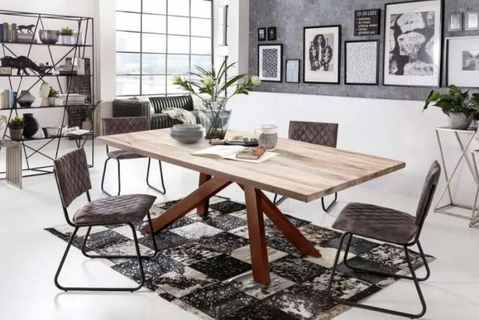 Masă de dining Freya White Oak, 75x100x240 cm, lemn/ metal, maro/ alb - OLD