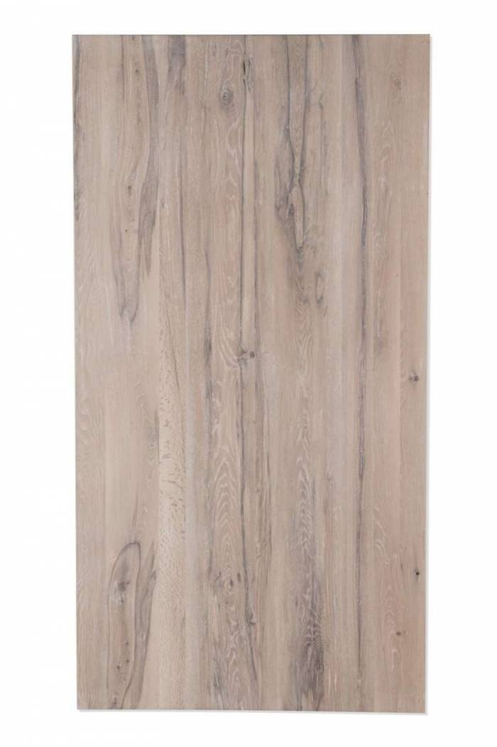 Masă de dining Freya White Oak, 76x100x180 cm, lemn/ metal, alb/ negru - OLD
