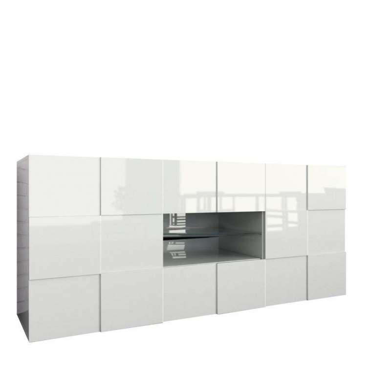 Bufet Bramon, 84x42x180 cm, melamină, alb poza