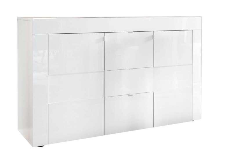 Bufet Build, 84x42x138 cm, melamină, alb poza