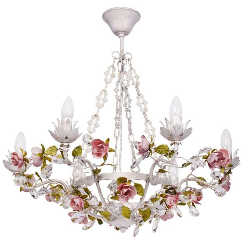 Candelabru alb cu decor floral Elleboro poza