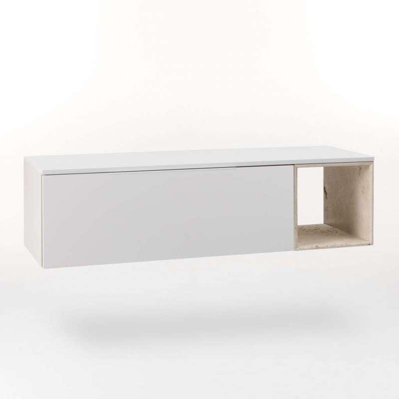 Dulap pentru baie Mactan, 37x45x135 cm, lemn/ piatra, multicolor poza