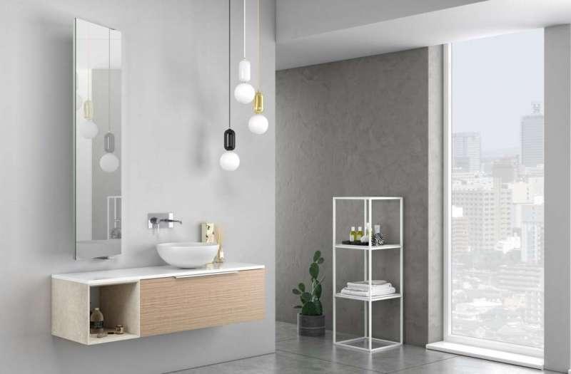 Set mobilă baie Mactan 3 piese, 220x46x135 cm, lemn/ piatra/ sticla/ rasina, multicolor poza