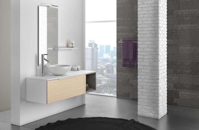 Set mobilă baie Mactan 5 piese, 190x46x135 cm, lemn/ piatra/ sticla/ rasina, multicolor poza