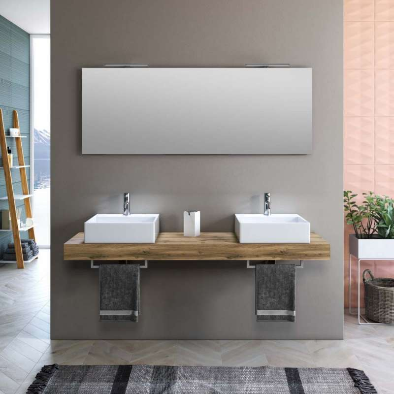 Set mobilă baie Yoka 8 piese, 190x45x165 cm, melamina/ aluminiu/ abs/ sticla/ ceramica/ metal, maro poza