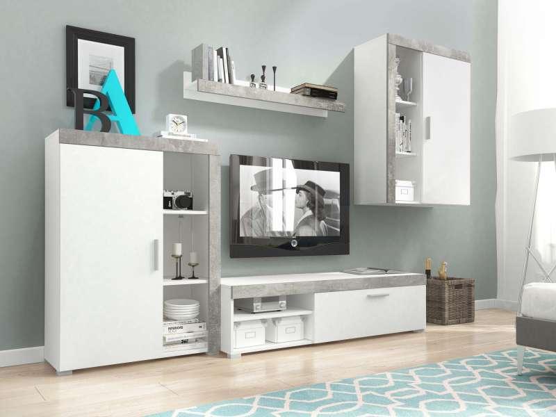 Set mobilă living Eliseo, 197x270x34/42 cm, pal/ mdf/ plastic, alb poza