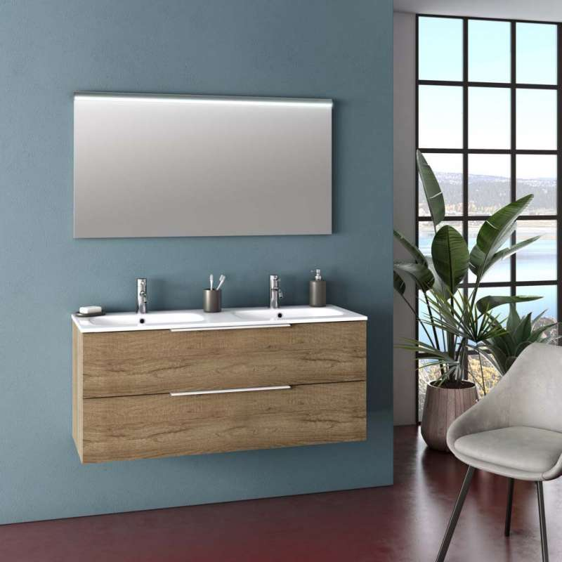 Set mobilier pentru baie Malmo Honey Oak 3 piese poza