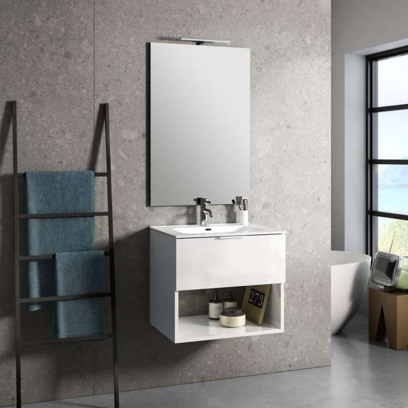 Set mobilier pentru baie One 4 piese, 190x46.5x61 cm, melamina/ aluminiu/ abs/ sticla/ ceramica/ metal, alb poza
