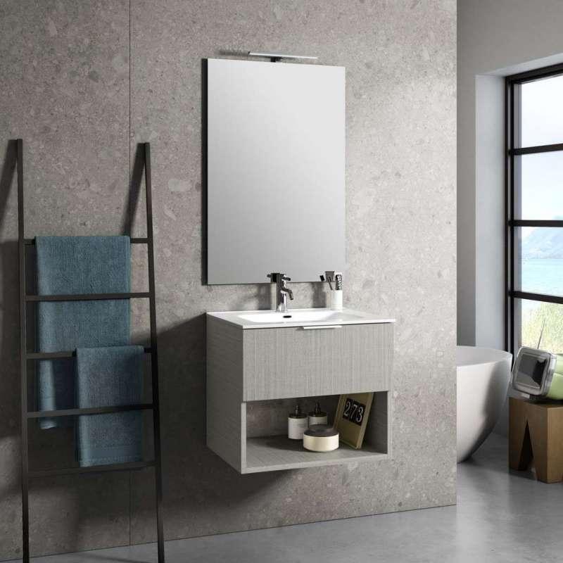 Set mobilier pentru baie One 4 piese, 190x46.5x61 cm, melamina/ aluminiu/ abs/ sticla/ ceramica/ metal, maro poza
