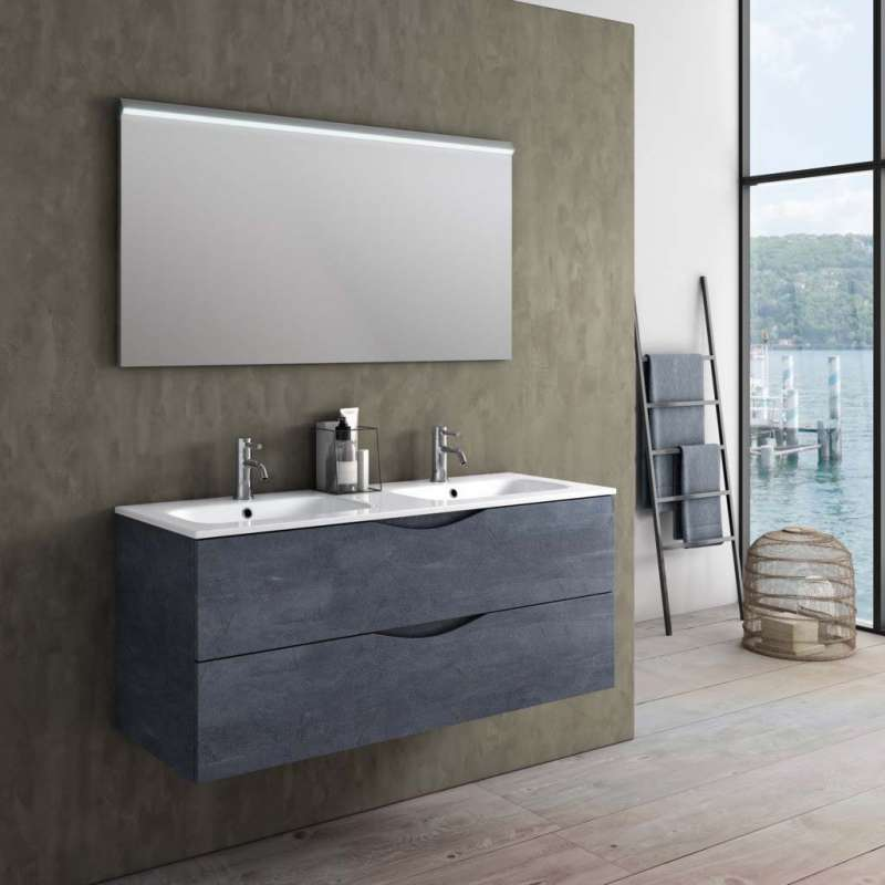 Set mobilier pentru baie Oslo 3 piese, 190x46.5x121 cm, melamina/ aluminiu/ abs/ sticla/ ceramica/ metal, albastru poza