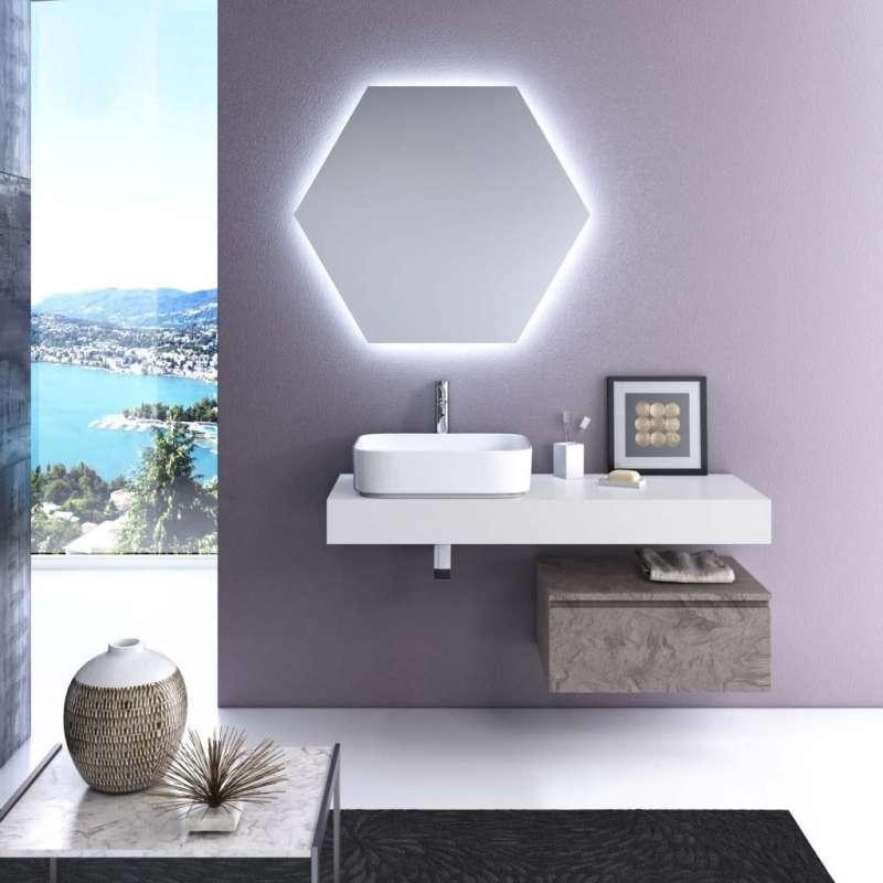 Set mobilier pentru baie Yoka 4 piese, 190x45x120 cm, melamina/ aluminiu/ abs/ sticla/ ceramica/ metal, multicolor poza