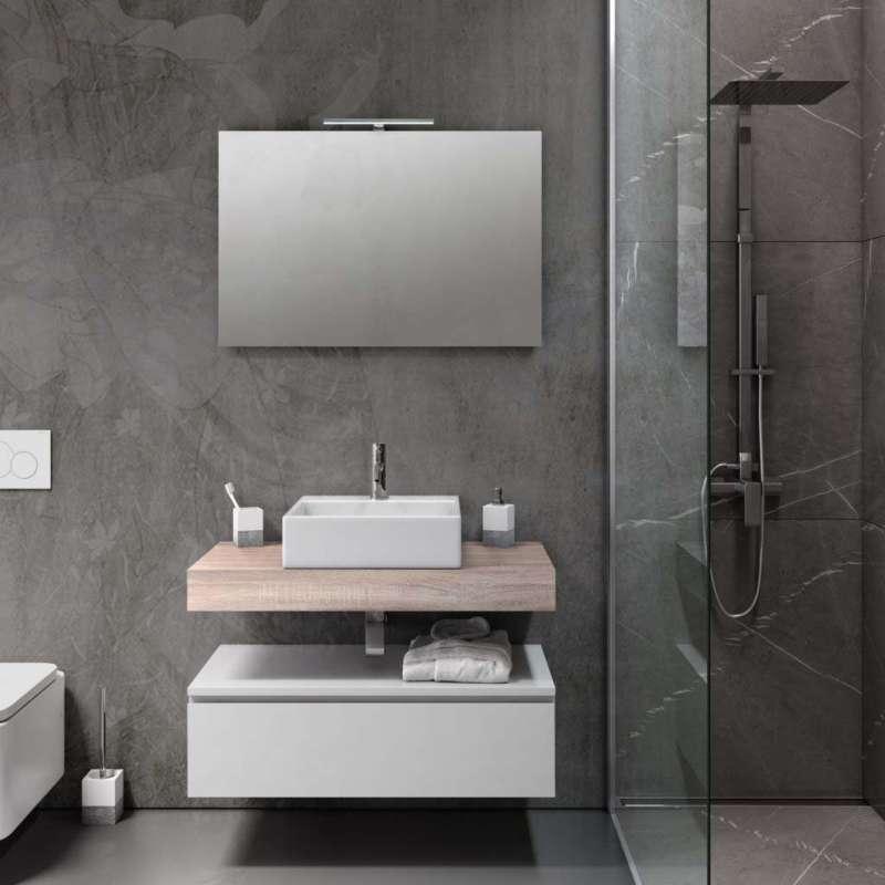 Set mobilier pentru baie Yoka 5 piese, 190x45x90 cm, melamina/ aluminiu/ abs/ sticla/ ceramica/ metal, maro poza
