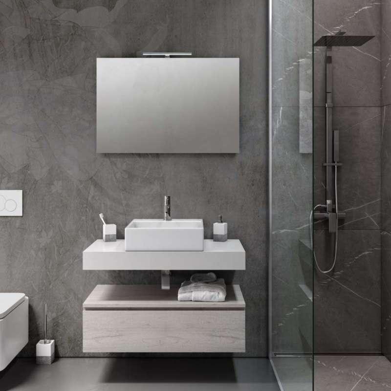 Set mobilier pentru baie Yoka 5 piese, 190x45x90 cm, melamina/ aluminiu/ abs/ sticla/ ceramica/ metal, multicolor poza