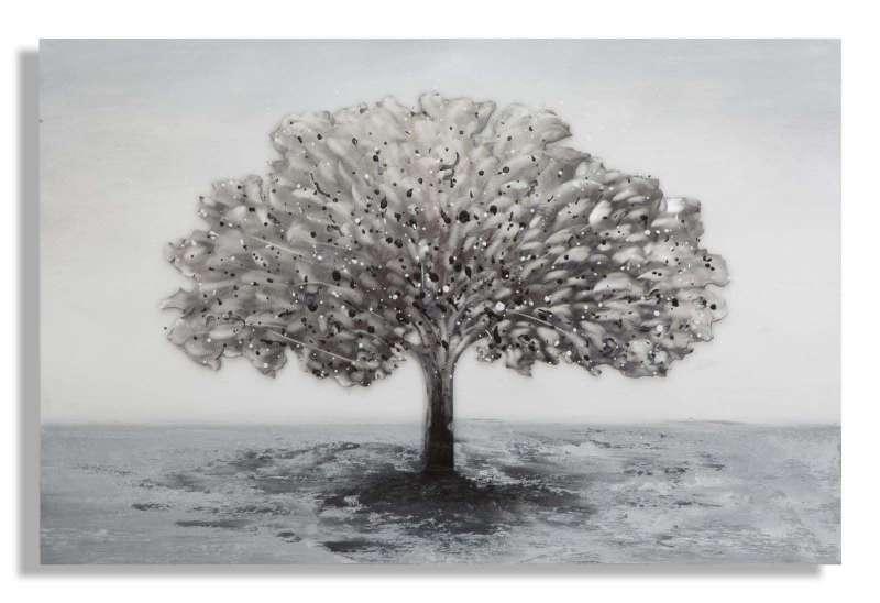 Tablou handmade Tree Alluminium, 80x120x3,8 cm, lemn de pin/ canvas/ metal, multicolor poza
