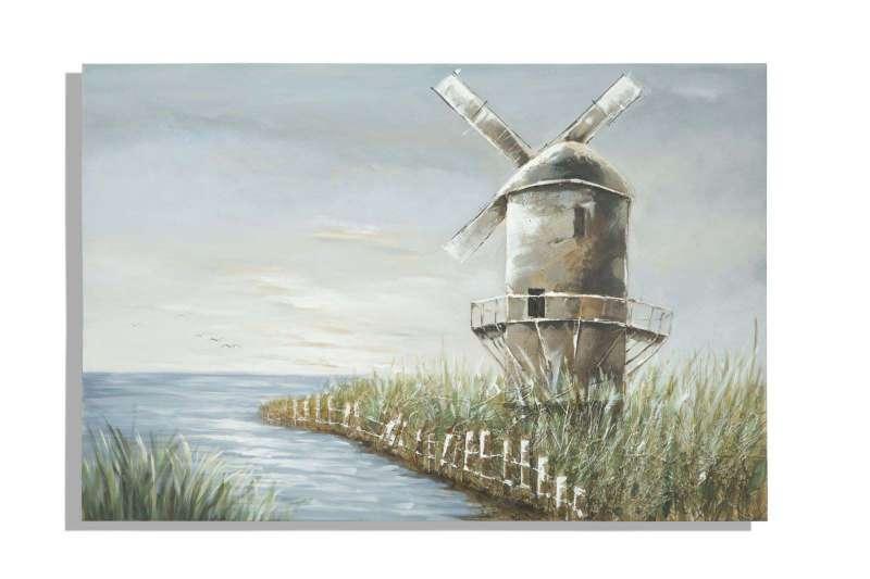 Tablou Mulino, 80x120x3.7 cm, lemn de pin/ plastic/ canvas, multicolor poza