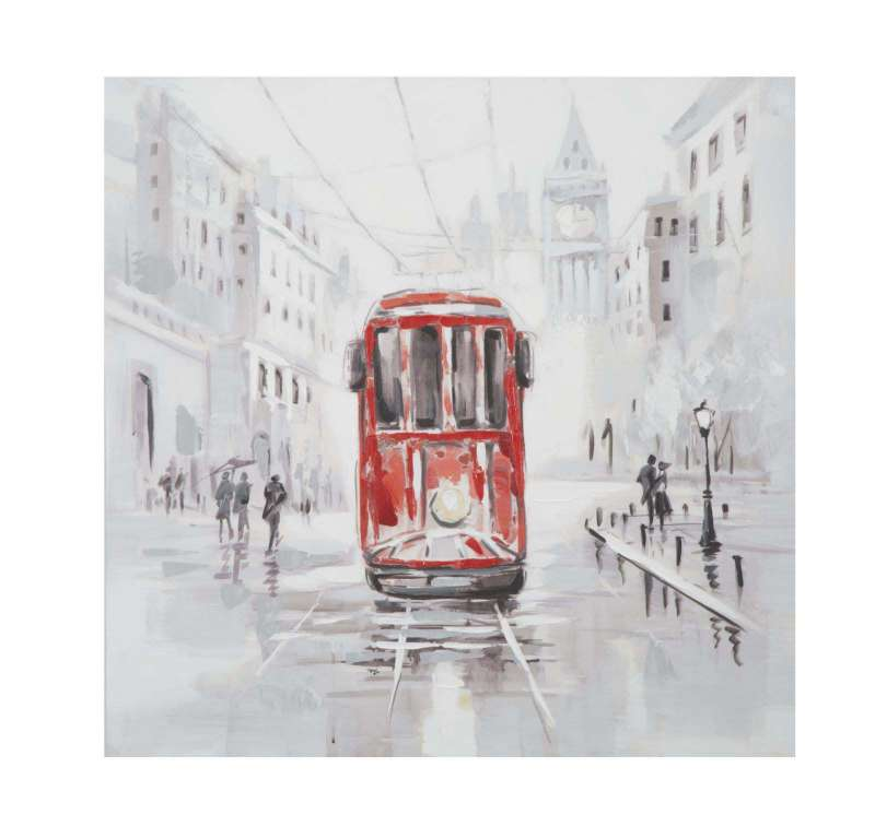 Tablou Tram, 80x80x3 cm, lemn de brad/ canvas, multicolor poza