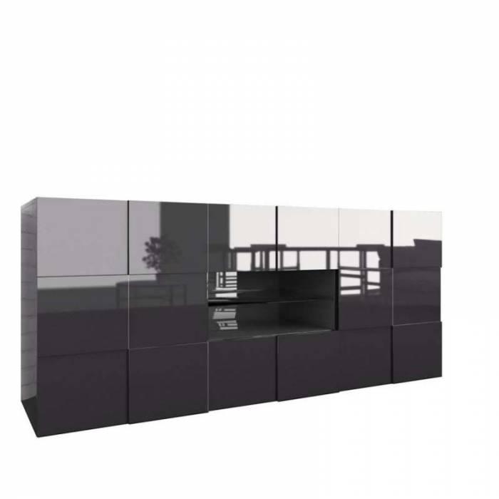 Bufet Bramon, 84x42x180 cm, melamină, gri