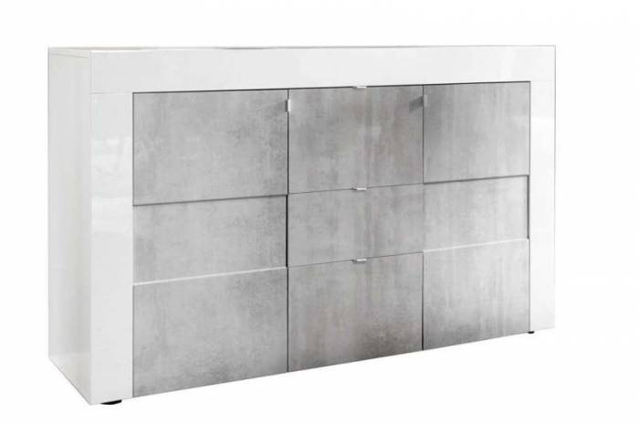 Bufet Build, 84x42x138 cm, melamină, gri