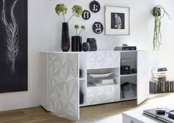Bufet Praga, 84x42x180 cm, melamină, alb